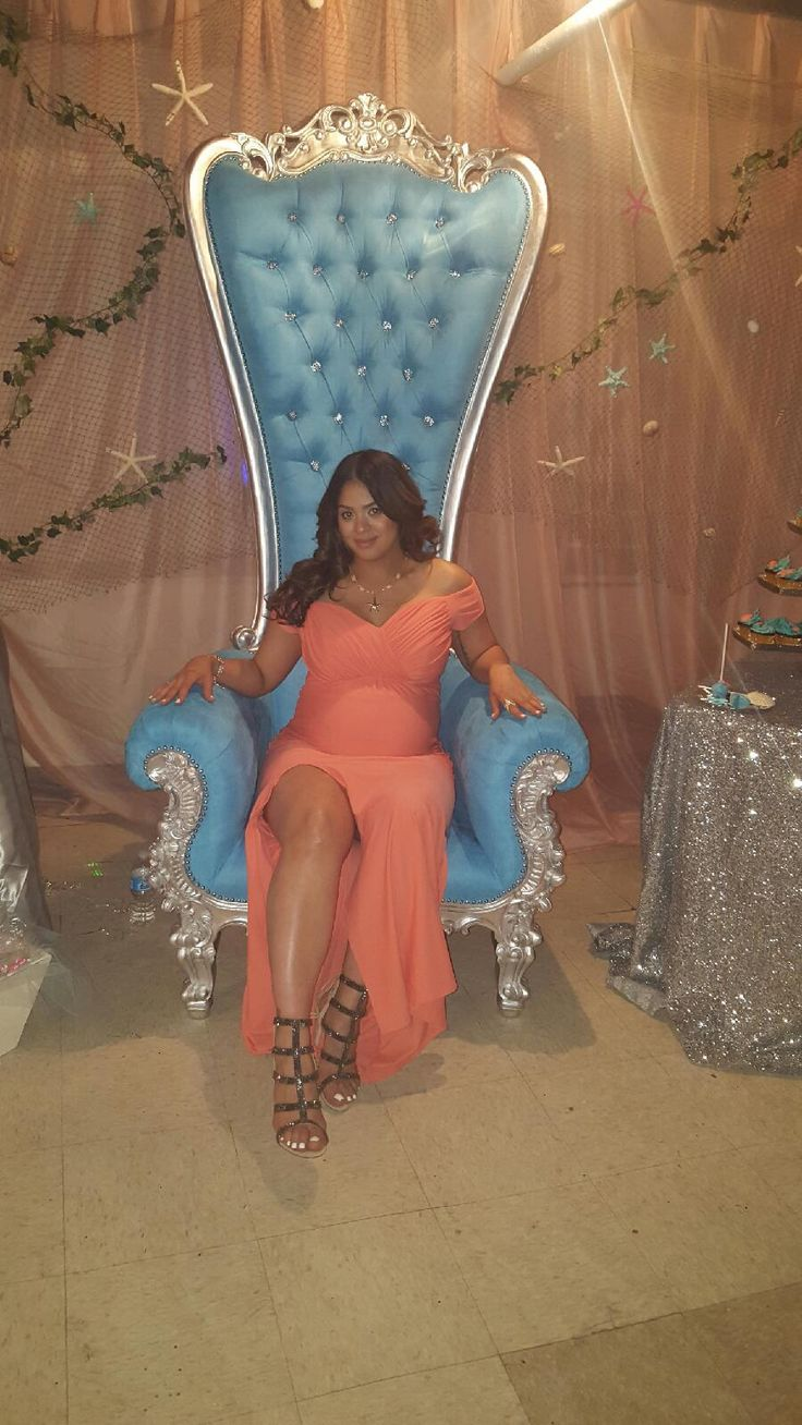 Light blue and silver throne chair for baby shower or any special event