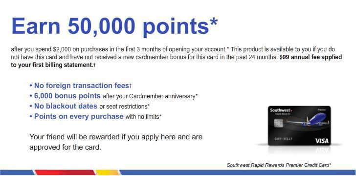 Earn 50,000 bonus points  You can earn 50,000 points with this Southwest Rapid Rewards® Premier Credit Card. Learn more!