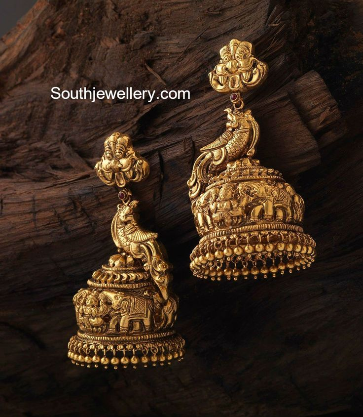 Antique Gold Peacock Nakshi Jhumkas photo