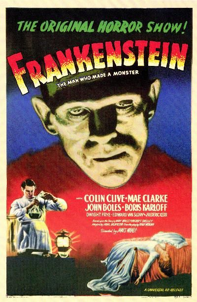 Frankenstein (1931): Horror classic in which an obsessed scientist assembles a living being from parts of exhumed corpses.