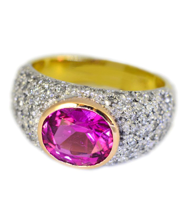 Hot pink tourmaline and diamond ring.AVAILABLE TO PURCHASE