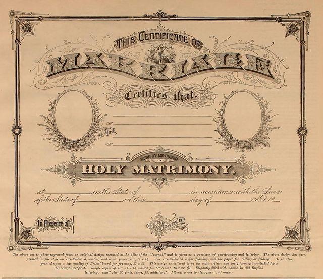 Marriage Certificate (blank) Ca. 1880's