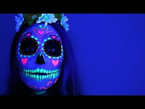 Black Light Sugar Skull ♥ Tutorial - YouTube Cupquake is awesome