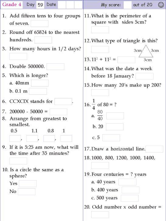 Mental Math Grade 4 Day 59