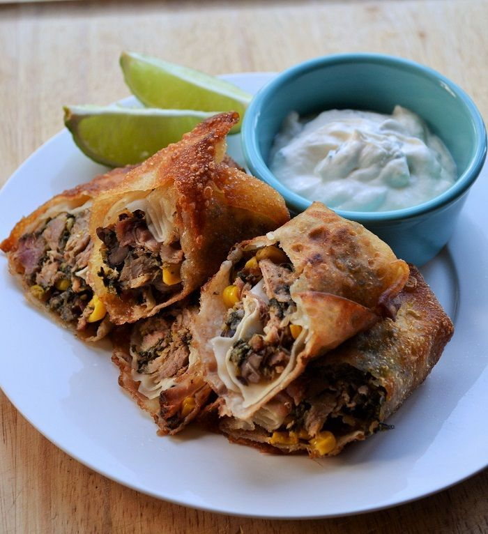 Smoked Pork Southwest Egg Rolls - These smoky, crunchy egg rolls are easy to make and packed full of southwest flavor.