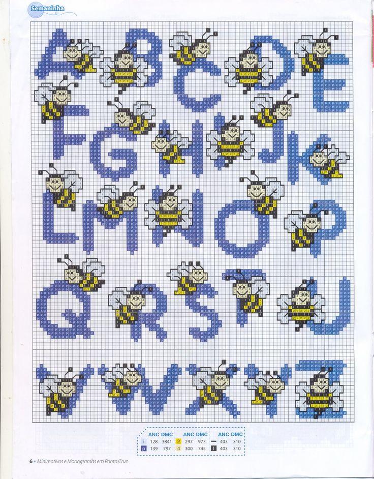 alphabet - point de croix - abeille - cross stitch - Blog : http://broderiemimie44.canalblog.com/
