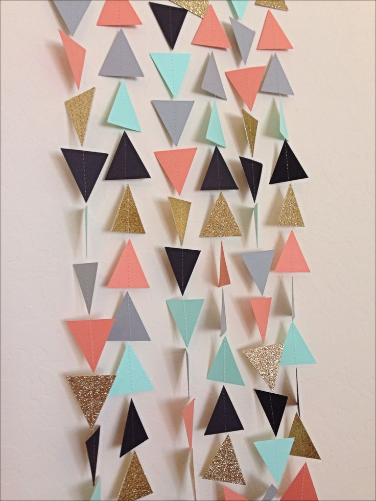 Coral Mint Gold Grey Black Geometric Triangle Garland