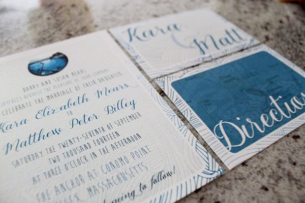 Wedding invitation for seaside ceremony and celebration. Includes RSVP postcard, directions card and save-the-date.