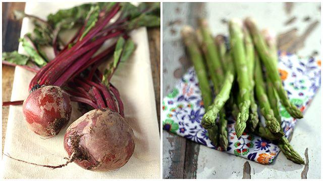 Receita de Salada de beterraba assada com aspargos, folhas e coalhada seca