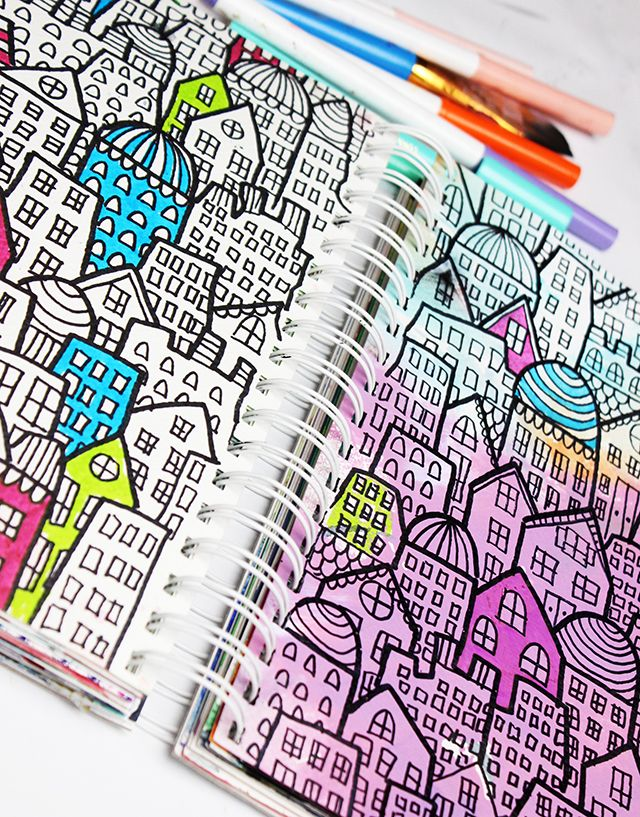 """From """"alisaburke: a peek inside my art journal.""""  Try drawing notable buildings from cities I've lived in: Birmingham, Louisville, Evansville. Maybe cities I've traveled to, also?"""