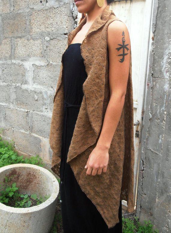 Wool Sleeveless Jacket Brown Women Top Long by FashionAndScarves