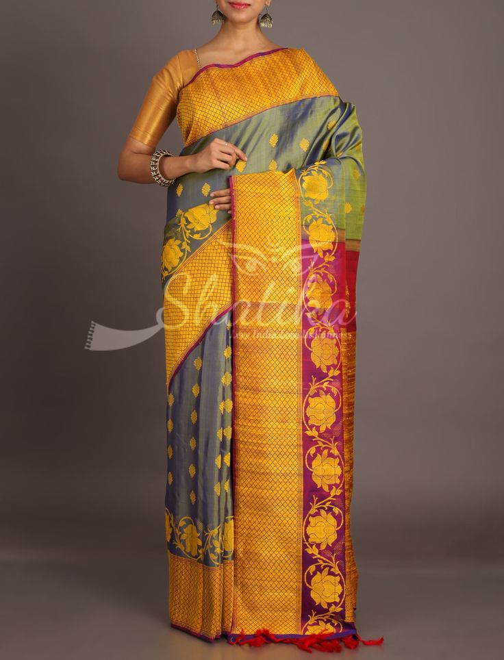 Aliya Grey With Yellow And Tinge Of Purple Unique Jute Silk Saree