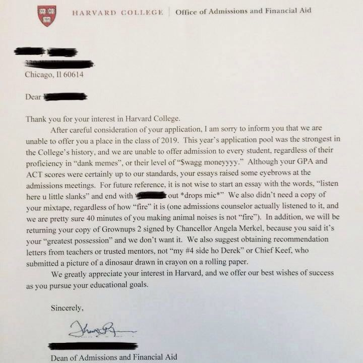 Harvard College Rejection Letter Has Just Broken The Internet - rejection letter