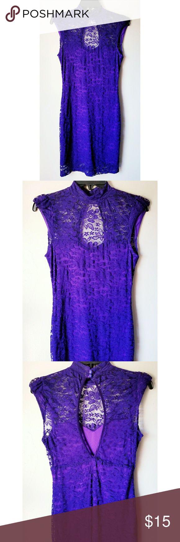 Sabora Purple Lace Bodycon Stretch Mini Dress Sabora Purple Lace Bodycon Stretch Mini Dress  Button Neck Back Closure  Sleeveless/Cap Sleeve  Open Back  Lined  Pit to pit- 16 in  Length- 34 in  Very sexy...shows curves  Great for a night out on the town,clubbing,etc,  Pre-Owned ...Great Condition! Sabora Dresses Mini