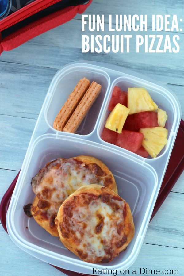 Looking for easy lunch ideas for kids? This Biscuit Pizza is super fun and I love that I can make them the night before because the kids love them cold! They pack great!