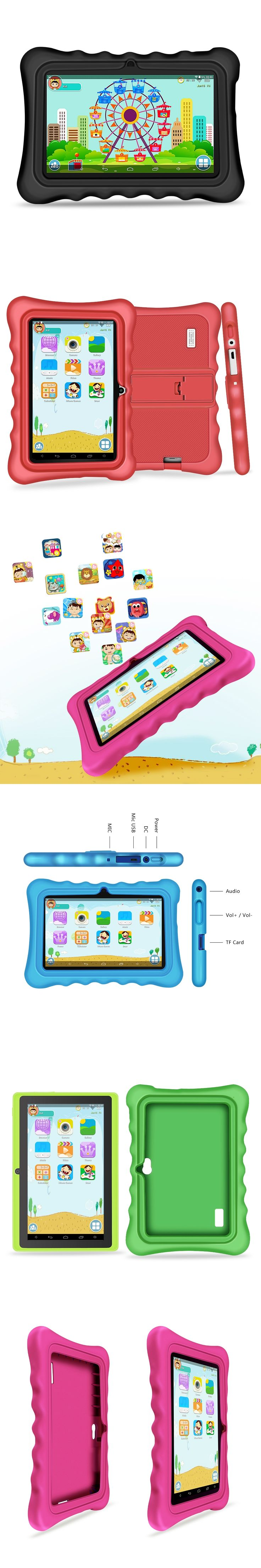 Yuntab 7 inch 5 color Quad Core touch screen 1024*600 Tablet PC load Iwawa kid software ,3D-Game bluetooth Kids Tablet