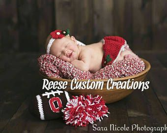 Crochet Ohio State Buckeyes inspired colors Newborn Baby Girl Photo Prop Outfit-Cheerleader Outfit- 3 - 4 Week Lead Time