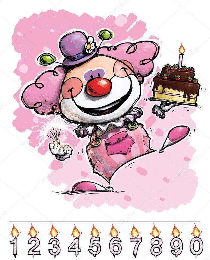 Scarica - Illustrazione del fumetto-artistica di un Clown che trasportano la torta di compleanno di una ragazza — Illustrazione stock #30282645