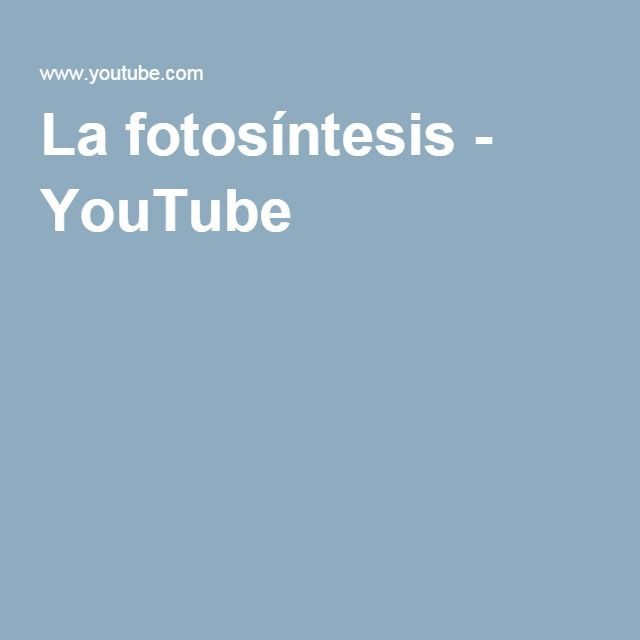 La fotosíntesis - YouTube