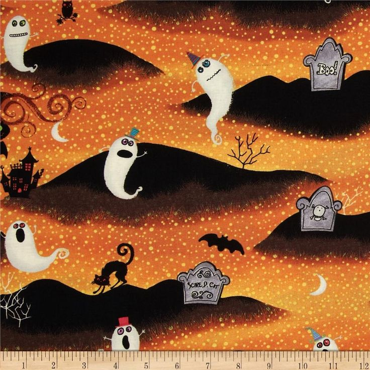 Nightmare Manor Halloween Graveyard Orange/Black from @fabricdotcom Designed by Viv Eisner Art and licensed to Windham Fabrics, this cotton print fabric is perfect for quilting, apparel and home decor accents. Colors include orange, black, ivory, green, pink and grey.