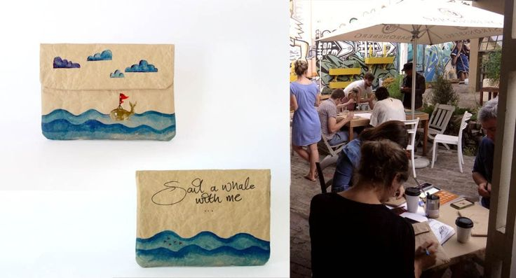 """Customised Mini Sleeve """"Sail a whale with me"""" painted by Wendren Setzer using Acrylic Drawing Inks and Artline markers at our Drink & Draw event held at Tribe Coffee, Woodstock"""