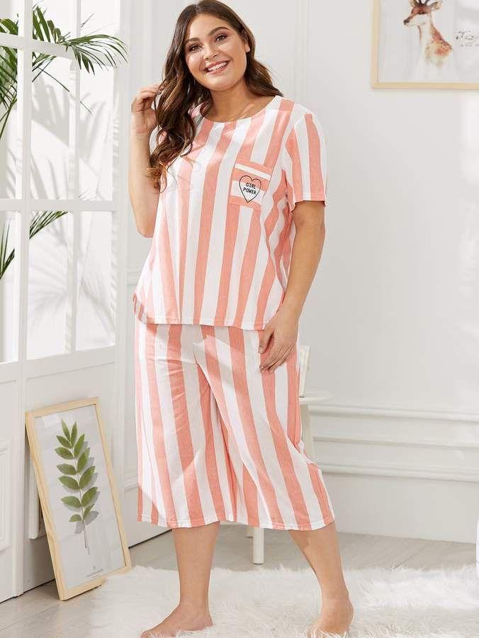 cc20f4d89f Shein Plus Letter Print Striped Pajama Set #Print#Letter#Shein ...