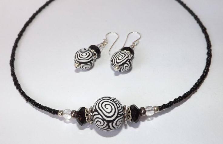 Black and White Koru Necklace and Earrings Set by Kathryn Design Jewellery Feature original handmade polymer clay beads Set Retails for $30 NZD