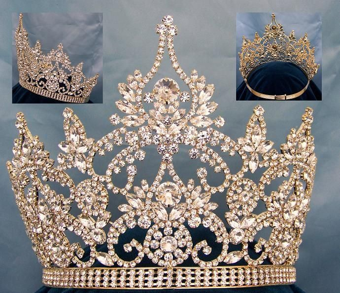 Magnificent Rhinestone Crown Tiara, made with the finest rhinestones and gold plated metal. Incorporated in this design are the stones in different sizes. Proudly made by our pageant jewelry specialis