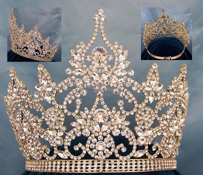 Continental Adjustable Gold Rhinestone Crown Tiara