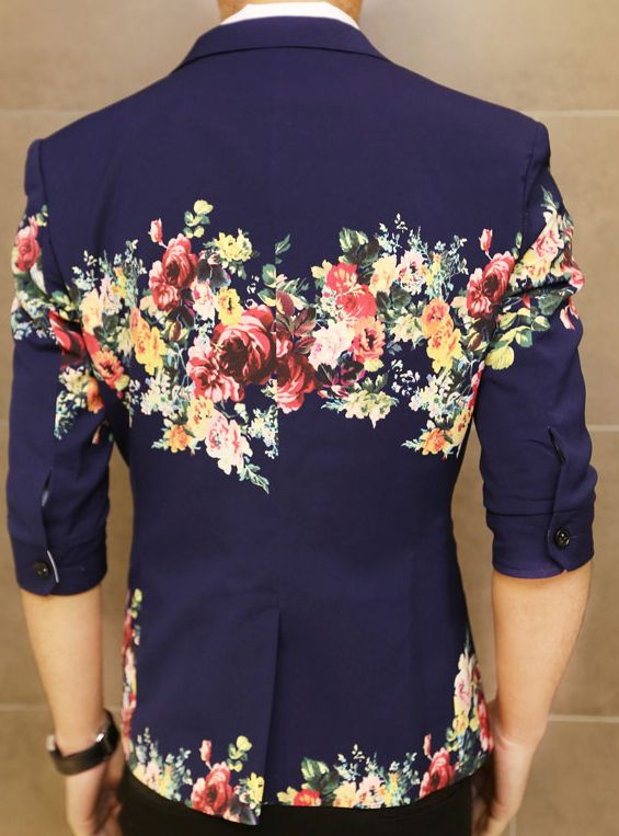**Creative Floral Print Navy Blue In Style Short Sleeve Blazer  | www.pilaeo.com #men's #luxury #fashion