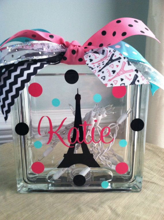 Personalized Paris Eiffel Tower Glass Block Light