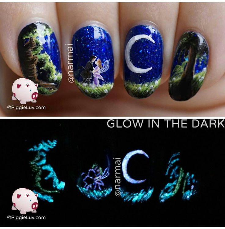 Very Cool Freehand Nail Art Glow In The Dark Shot Makes It Come