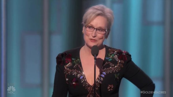 Meryl Streep was awarded the Cecil B. DeMille Award at the 74th Annual Golden Globes Awards on Sunday evening.  The veteran actress, who was nominated this year for best performance by an actress in a motion picture, comedy or musical for her work in Florence Foster Jenkins, was presented the honor by