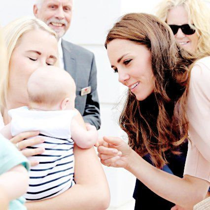 "Prince George on Twitter: ""Catherine, Duchess of Cambridge being adorable to a baby as she visits Nansledan. September 1,2016"