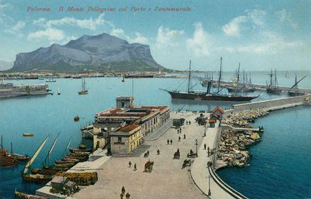 Palermo, Monte Pellegrino, Porto, Photochromiekarte, Purger & Co., München