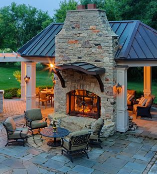 Outdoor space & fireplace Brick instead, love the idea of a double sided fireplace!