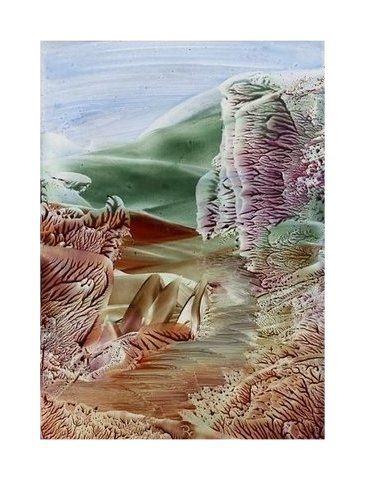 The Path - Encaustic art wax fantasy landscape painting.