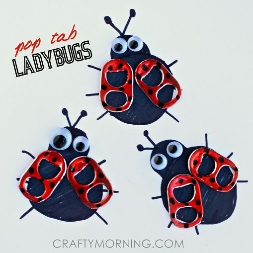 Make soda pop tabs into ladybugs. This is a fun spring craft for kids or to put on cards!
