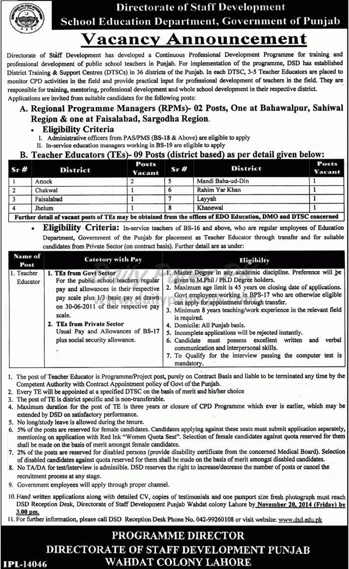 Vacancy Announcement Directorate of Staff Development, School Education Department, Government of Punjab Lahore For #jobs detail and how to apply: #paperpk http://www.dailypaperpk.com/jobs/223629/vacancy-announcement-directorate-staff-development-school-education-department-government-punjab-lah
