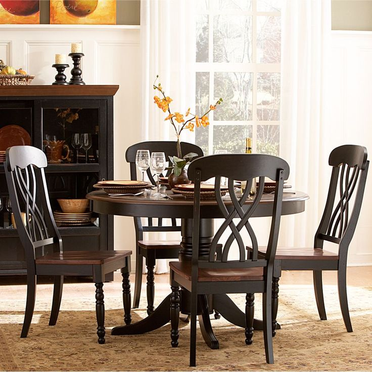 Oxford Creek 5 Piece Casual Country Antique Black Round Dining Table Set