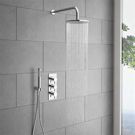 Cruze Round Triple Thermostatic Valve With Round Shower Head U0026 Handset