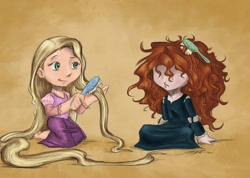 Rapunzel VS Merida hairs