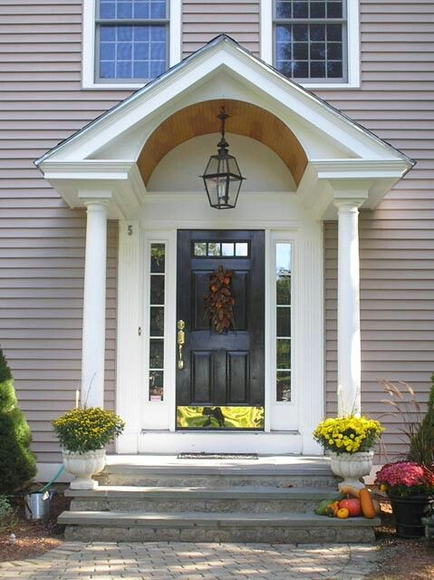 Barrel Ceiling And Round Columns Front Porch Design