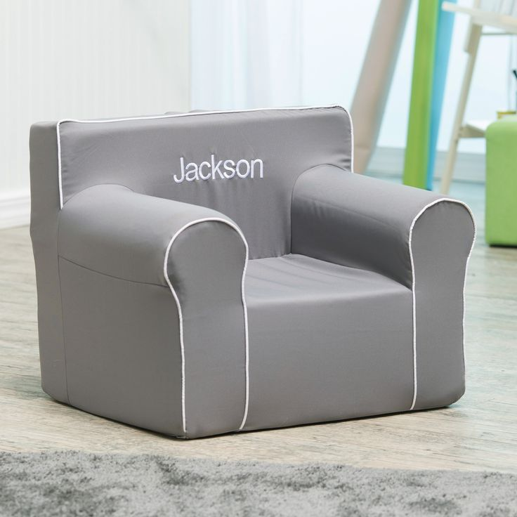 Here and There Personalized Kids Chair  - Gray Canvas with White Piping & White Thread | from hayneedle.com