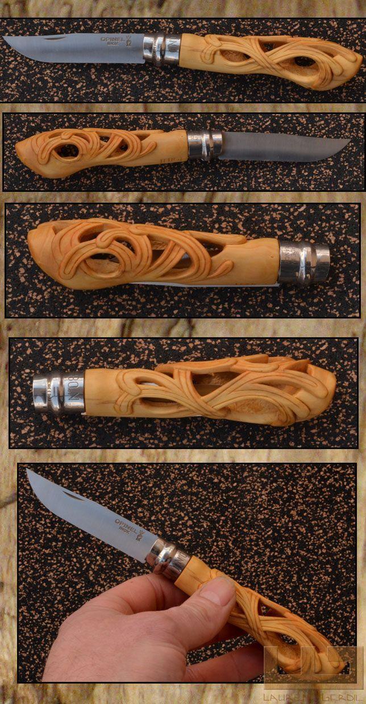 Gerdil Лоран - Скульптура - Opinel № 8 резные самшит ручка. открыт длина 20 см.