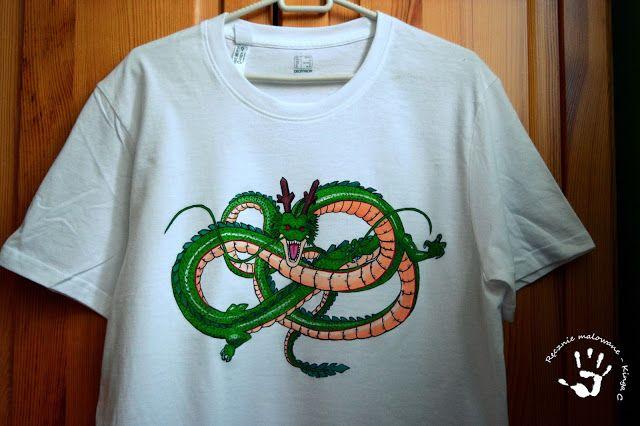 Ręcznie malowana koszulka ze smokiem z Dragon Ball. #anime #dragonball #dragon #smok #film #koszulka #ręczniemalowane #tshirt #dlaniego #prezent #pomysł