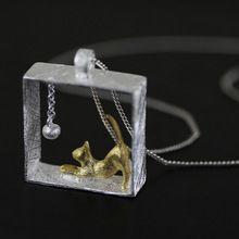 Neue Ankunft 925 Sterling Silber Halsketten Rectangle Katze Anhänger & Halsketten Schmuck Kragen Colar de Plata Drop Shipping(China (Mainland))
