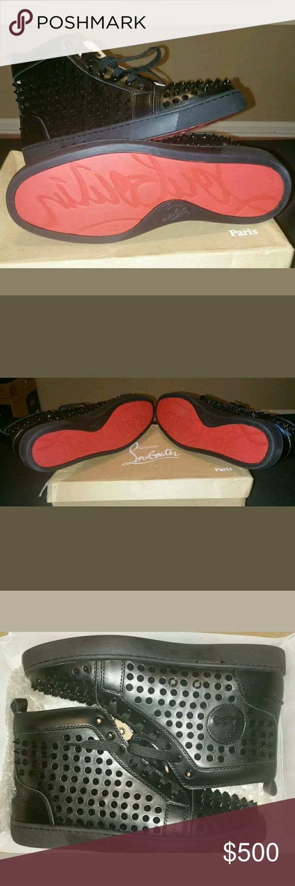 Christian Louboutin Red Bottom shoes Men Casual Spike Black Red Bottom shoes Christian Louboutin Shoes Sneakers