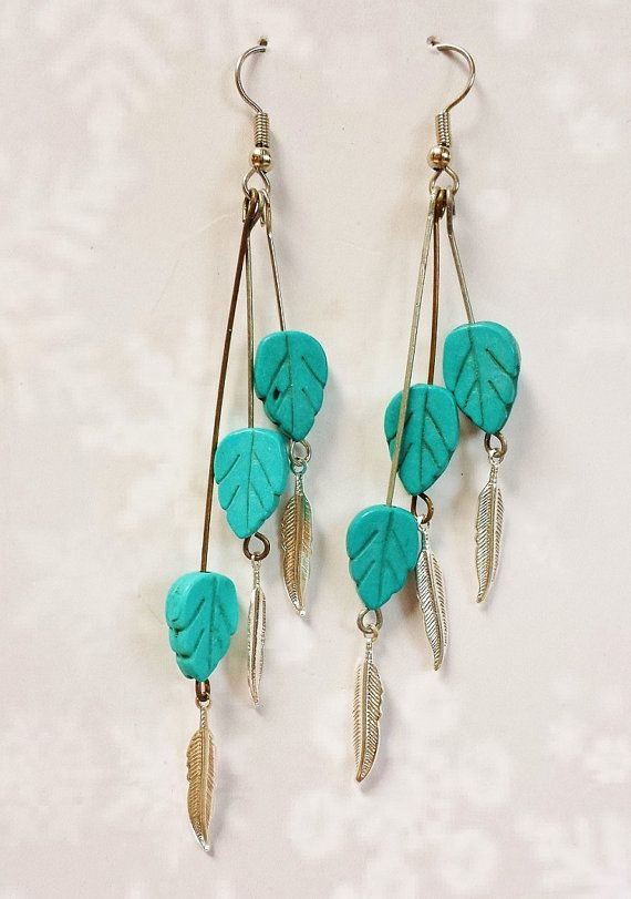 Best Turquoise Jewelry ~ Modern Navajo 2017 Trends ~ Handmade Turquoise Dangle Earrings, Free Spirited Auntie Gift, Ethnic Jewelry For Women