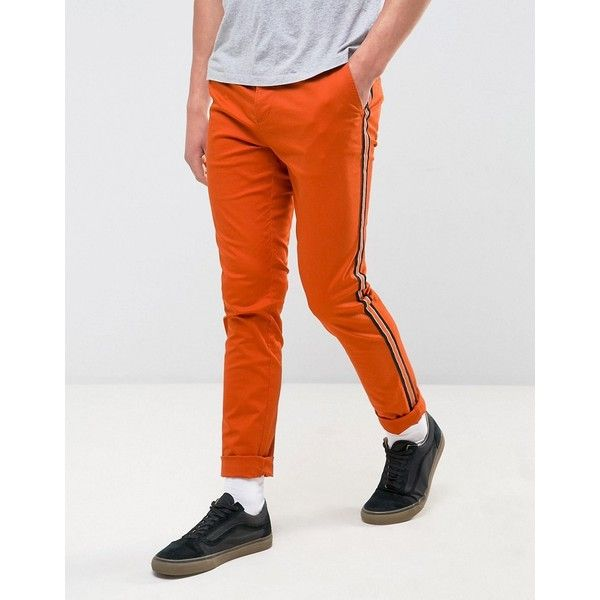 ASOS Skinny Chino With Contrast Side Stripe In Orange ($33) ❤ liked on Polyvore featuring men's fashion, men's clothing, men's pants, men's casual pants, orange, mens skinny chino pants, mens super skinny dress pants, mens tall pants, mens skinny fit dress pants and mens chinos pants